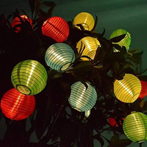 WYQSX Lichterketten Solarleuchte 50 LED Nylon Multifarbig Laterne Beleuchtung Innen und Outdoor Bunt Solarlampe Dekoration Lampions für Party Weihnachten Halloween Hochzeit Gartenbeleuchtung