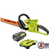 Ryobi 24 in 40-Volt Lithium-Ion Cordless Hedge Trimmer - 2.6 Ah Battery and Charger Included