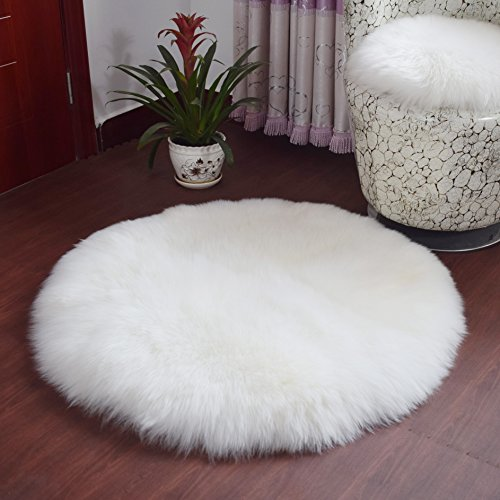 Faux Fur Small White Car Shag Carpet thick Fuzzy Squares Fluffy Mat Pad Area Rug Padding Roll Bathroom Living Room Classroom From Australia Carpeting (Round white 47″) Review