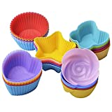 25 Pcs Reusable Silicone Cupcake Liners/ Muffin baking Cups, 5 Shapes with 5 Colors, Nonstick and Heat Resistant Cake Molds, by Gseer