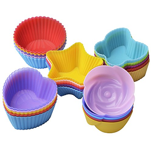 Assortment Mold (25 Pcs Reusable Silicone Cupcake Liners/ Muffin baking Cups, 5 Shapes with 5 Colors, Nonstick and Heat Resistant Cake Molds, by Gseer)