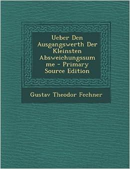 Book Ueber Den Ausgangswerth Der Kleinsten Absweichungssumme