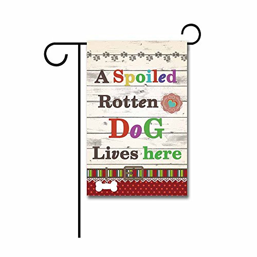 KafePross a Spoiled Rotten Dog Lives Here Garden Flag Cute Puppy Paw Heart Home Decor Banner for Outside 12.5