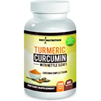 Turmeric Curcumin 1500mg with Black Pepper Extract & Nettle Leaf - 2 Month Supply - Maximum Pain Relief, 120 Capsules, High Absorption Formula with 95% Curcuminoids - Antioxidant, Anti-inflammatory