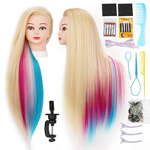Cabeza  practica de peluqueria 75cm (blanco multicolor)+acc