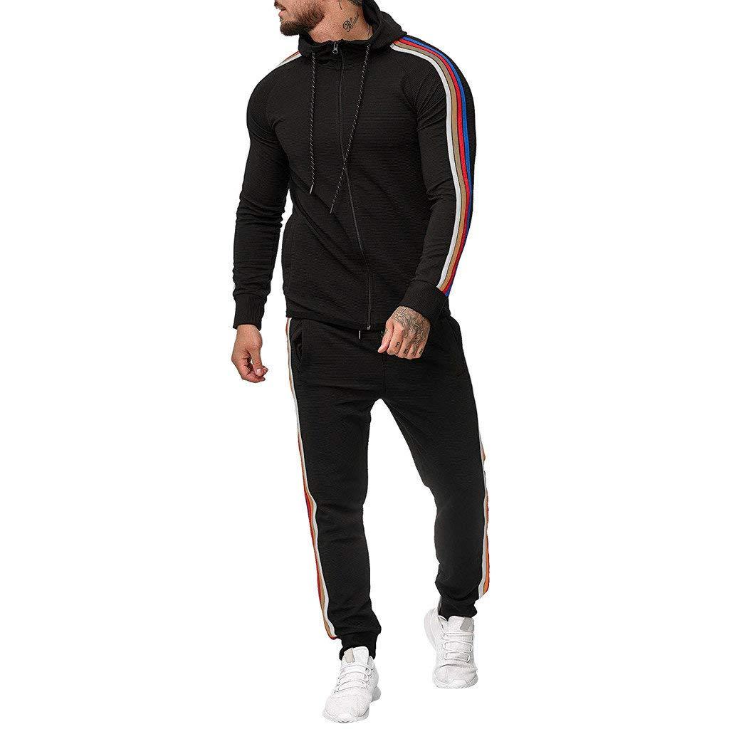 DondPO Mens Tracksuit Set Gradient Zipper Print Sweatshirt Top Pants Jogger Sweatpants Warm Sports Suit Black by DondPO