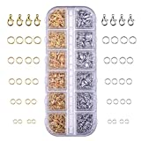 Outus 1104 Pieces Jewelry Findings Kit Lobsters Clasps and Jump Rings for Jewelry Making (Multicolor A)