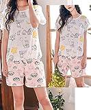LLP Teen Girls Lovely Cartoon Summer Pajama 2 Pieces Casual Sleepwear (8-16 Years Old)