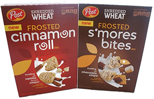 Variety Pack - Post Shredded Wheat Cereal (15.5 oz) - Frosted Cinnamon Roll, Frosted Smores (Frosted Cinnamon Roll)