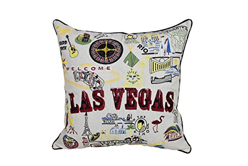 """Lichao Happiness Cities LAS VEGAS Home Decorative EMBROIDERY Poly Linen Square Pillow Case 18"""" x 18"""" (MUTI)"""