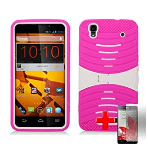 "ZTE Max N9520 / Boost MAX (Boost Mobile)Ê2 Piece Silicon Soft Skin Hard Plastic Kickstand ""UCASE"" Case Cover, Pink White + SCREEN PROTECTOR"