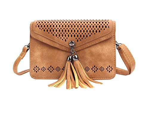 Small Phone Purse for Women, Jeniulet Mini Crossbody Bag Tassel Girls with Double Compartments