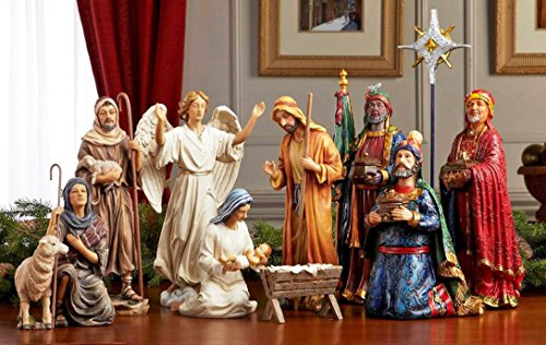 Christmas Nativity Set - Full 10 inch Real Life Nativity Set by Three Kings Gifts
