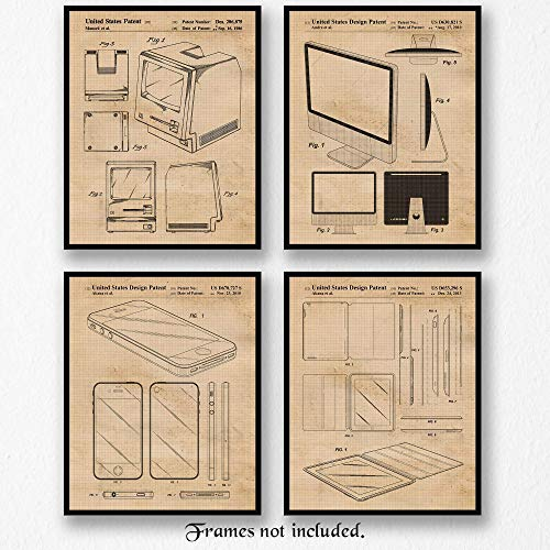 Vintage Steve Jobs Products Patent Poster Prints, Set of 4 (8×10) Unframed Photos, Great Wall Art Decor Gifts Under 20 for Home, Office, Man Cave, Student, Teacher, Smart Computer & Steve Jobs Fan