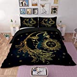 3D Bedding Duvet Cover Set Golden Sun and Moon Bedding Set 3 Pcs Duvet Cover with Zipper Closure for Kids, Teens and Adults King Size