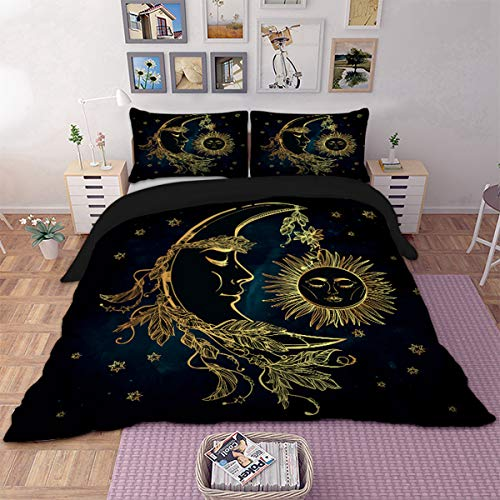 Bohemian Duvet Cover Set King 3D Printed Golden Sun and Moon Bedding Set for Kids Teens Adults Soft Mandala Comforter Cover with Zipper Closure, Ties and 2 Pillowcases (Navy Blue, ()