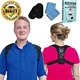 Vonatos Upper Back Support Posture Corrector for Women and Men Breathable, Sweat Wicking Clavicle Brace Fixes Bad Shoulder Alignment at Work + Bonus Wrist Bands and eBook on Improving Lifestyle