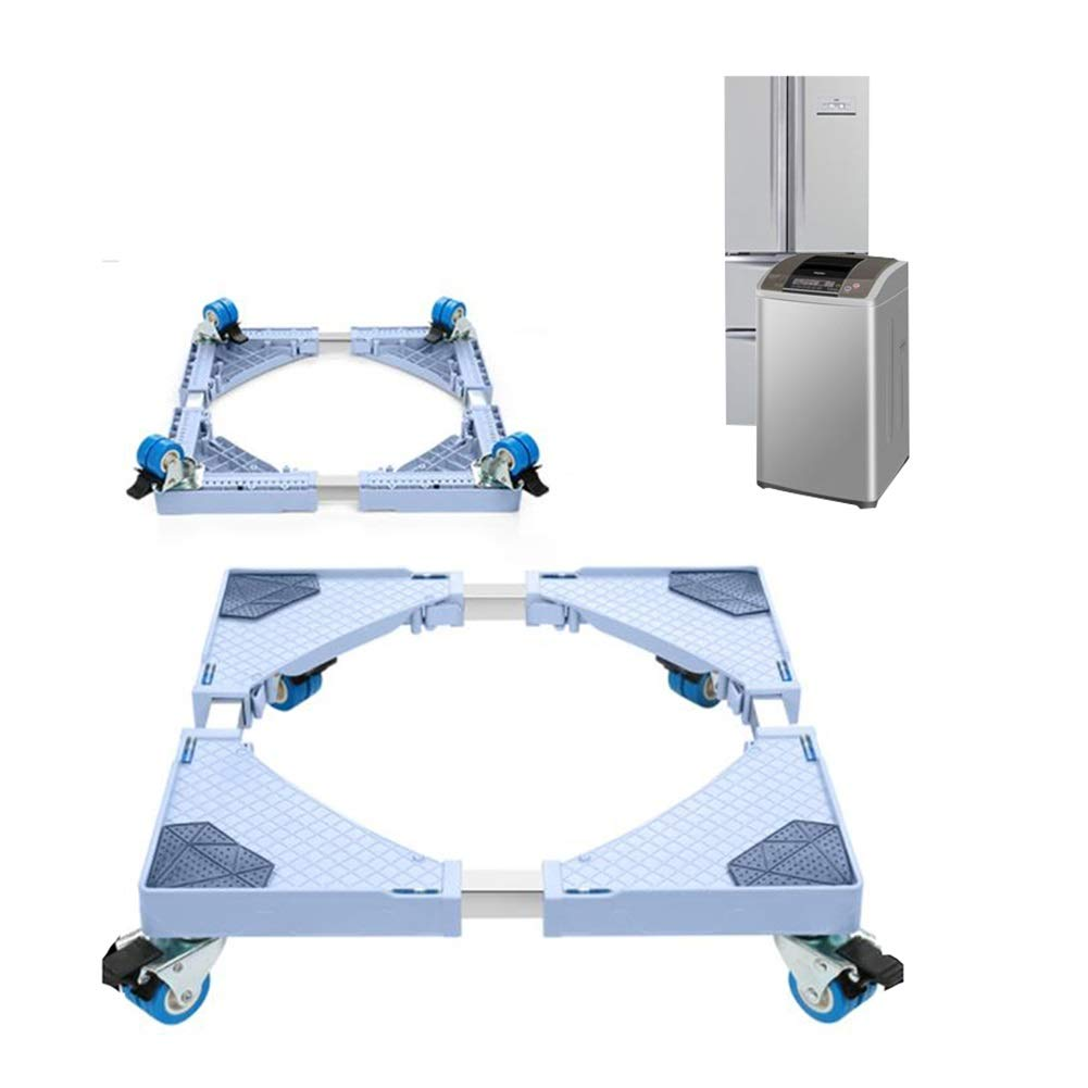 Movable Base-XXIOJUN Washing Machine Base,Fridge Stand Adjustable Length Double Wheel Easy to Move Plastic Stainless Steel, 2 Size (Color : Gray, Size : 4 Wheel) by XXIOJUN-Multi-functional Movable Base
