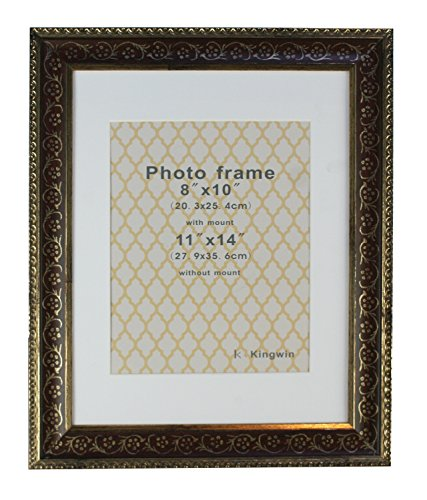 Kingwin Picture Frame Pf41006 Brown Color with White Mat Cut in Bevel - Bevel Brown