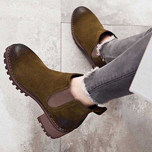 Vogstyle Damen Herbst Winter Neue Frauen Stiefel Leder Chelsea Boots mit Blockabsatz Khaki
