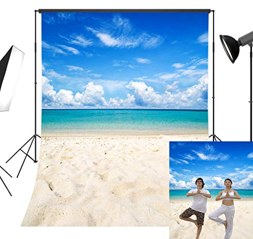 LB Tropical Beach Backdrop Blue Sea Sky Photo Backdrop 5x7ft Vinyl Hawaiian Luau Party Background Wedding Birthday Party Portraits Photo Booth -