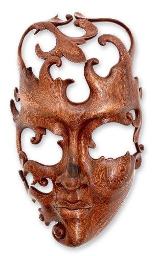 NOVICA Decorative Modern Large Suar Wood Mask, Beige, 'Lover' by NOVICA