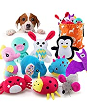 AWOOF 10 Pack Dog Toys for Small Dogs, Stuffed Animals Cute Puppy Teething Toys Plush Dog Squeaky Toys, 100% Natural Cotton Puppy Chew Toys, Non-Toxic and Safe