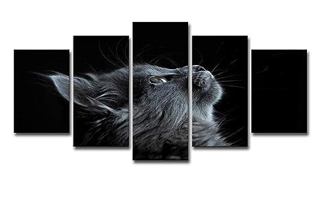 HDWALLART Impresiones De Lienzos Grandes HD Impreso 5 Piezas Lienzo Arte Gato Carteles E Impresiones Cartel