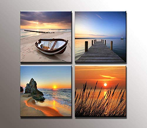 youkuart Seaview Modern Seascape Giclee Canvas Prints Artwork Contemporary Landscape Sea Beach Pictures to Photo Paintings on Canvas Wall Art Home Decorations Wall Decor