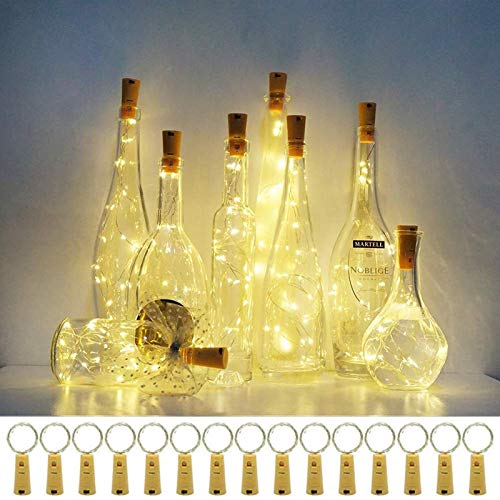 Wine Bottle Lights with Cork,15 Pack Cork Shaped Battery Operated Bottle Light Copper Wire Fairy LED Mini String Lights…