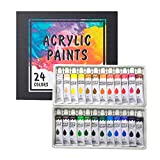 Acrylic Paint Set 24 Colors/Tubes(12ml, 0.4 oz) Non