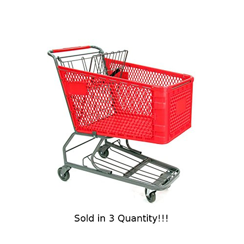 3 Pc New Red Large Plastic Shopping Cart with Bottom Tray (180-liter) by Store Shopping Cart