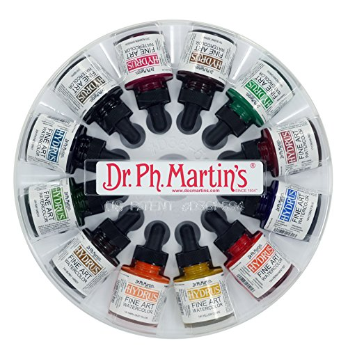 Dr. Ph. Martin's Hydrus Fine Art Watercolor Bottles, 1.0 oz, Set of 12 by Dr. Ph. Martin's