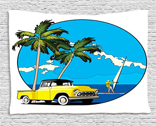 Ambesonne Retro Tapestry, Graphic Design Nostalgic Chevy Car a Sailer Guy in The Ocean Palms Vivid Sky Seaside, Wall Hanging for Bedroom Living Room Dorm, 60 W X 40 L Inches, Blue White ()