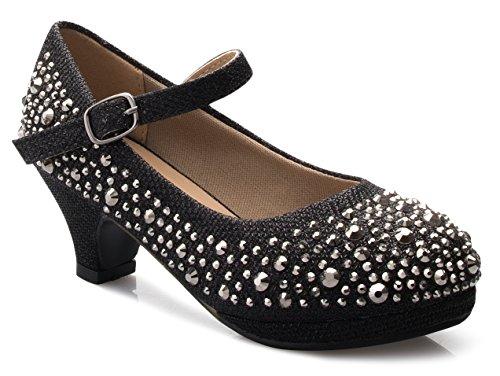 OLIVIA K Girls Kids Kitten Heels Rhinestone Patent Pretty Sandals Mary Jane Platform Dreess - Platform Shoes Girls Spice