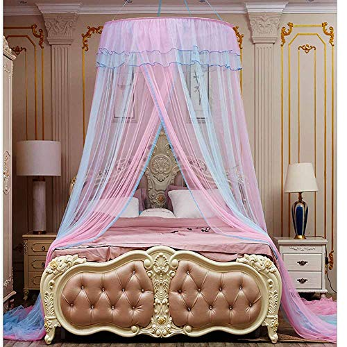 - Bed Canopy Dream Tent for Girl Kids Bedroom Decorations Pink and Blue Color Bed Canopy (Little Princess)