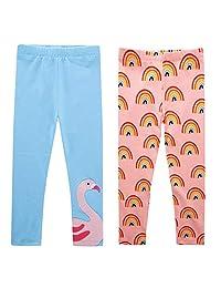 Happy Cherry Baby Girls' Leggings 2 Pack Kids Soft Novelty Printed Leggings Classic Pants