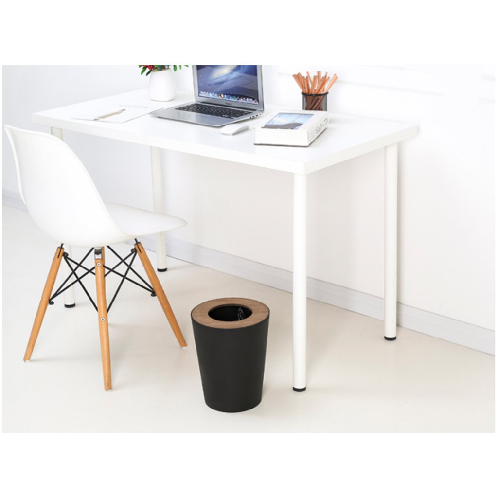 Trash Can Round, 9liter/2.5gallon Garbage Can With Wood grain Lid, Wastebasket Toilet Trash Bin Garbage Container Bin For Bathrooms, Kitchens, Living Room (Color : Black) by Trash Can (Image #6)