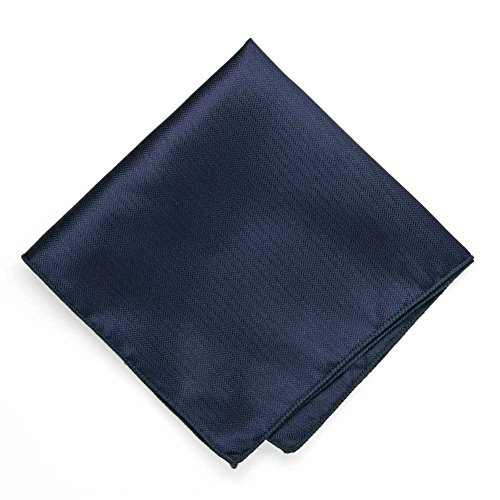 TieMart Navy Blue Herringbone Silk Pocket Square (Pocket Herringbone Silk Square)