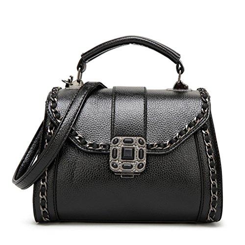 SYGoodBUY Bolso de hombro de cuero de la vendimia de las mujeres Elegante bolso de hombro de cadena pequeño (Color : Negro, tamaño : Un tamaño) Negro