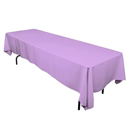 Superior LinenTablecloth 60 X 126 Inch Rectangular Polyester Tablecloth Lavender