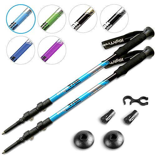 - High Trek Premium Ultralight Trekking Poles w/Sweat Absorbing EVA Grips - Your Collapsible Hiking/Walking Sticks Come with Tungsten Tips and Flip Locks - Enjoy The Outdoors
