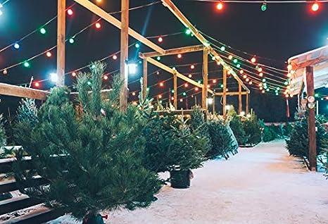 Christmas Bush Lights.Yeele 9x6ft Christmas Photography Background Colorful Led Light Square Bush Step Outdoor Wood Shelf Night Snowy Merry Xmas Photo Backdrops Photoshoot