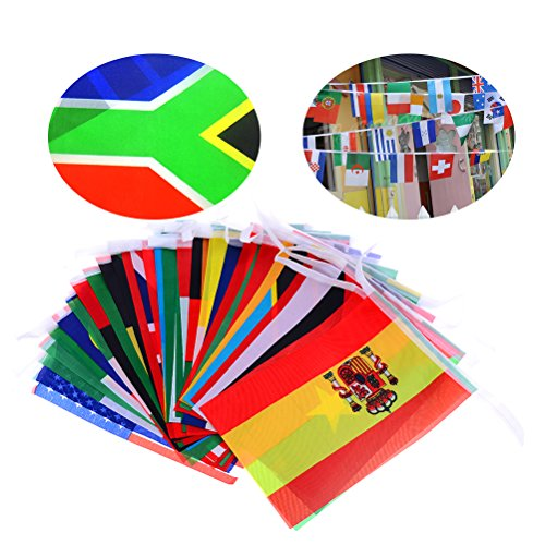 DINGJIN International Flag Banners 50 Country 39 Feet String Flags for Bar Soccer Club Party Decorations (Each Flag 8.2 x 5.5 Inch)