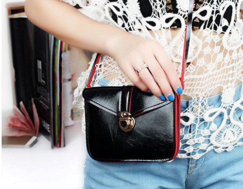 School Single Bag Red Girls Black Cellphone PU Leather Pouch YINGGG Crossbody Mini and Shoulder for Ladies UfAgBqw