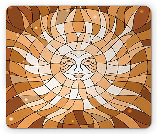 Lunarable Sleeping Sun Mouse Pad, Stained Glass Illustration of Bohemian Celestial Body, Standard Size Rectangle Non-Slip Rubber Mousepad, Cinnamon Amber Peach White ()