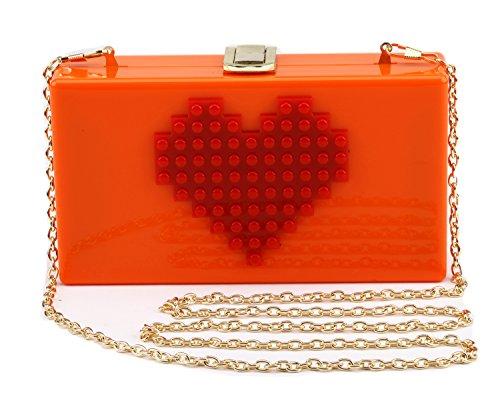 sacchetto Good in acrilico Night borsa del fronte cuore rettangolare Cuore sera di frizione partito arancione amore di Donne della sorriso del Px1FwtqrP