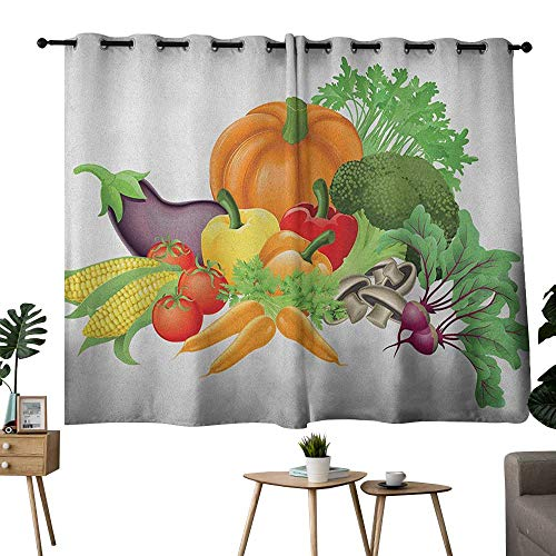 - NUOMANAN backout Curtains for Bedroom Harvest,Cartoon Drawing Style Fall Harvest Yield Fresh and Tasty Vegetables Bell Peppers, Multicolor,Adjustable Tie Up Shade Rod Pocket Curtain 52