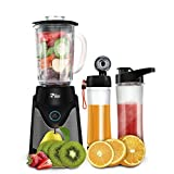Riiai Personal Blender,Smoothie Maker,500 Watt Stainless Steel Single Serve Blender 6 Action Stainless Steel Blade With 570mL Tritan BPA Free Travel Sport Bottle Lid ,Black (Blender+Vacuum Assembly)