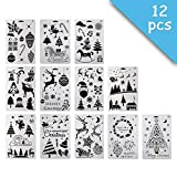 12 Pcs Plastic Painting Stencil,Christmas Themes Santa Claus Snowman Christmas Tree Snow Elk Jingle Bell Drawing Spraying Templates 10''×7'' for DIY Crafts Project